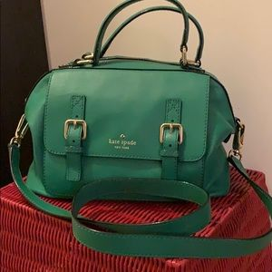 Green Kate Spade Small Satchel w/ removable straps